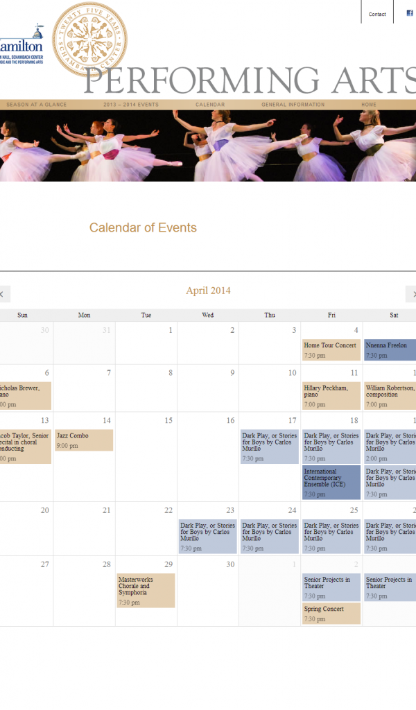 Hamilton College Performing Arts Calendar